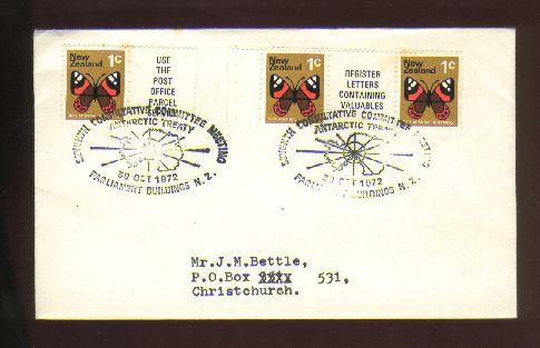 1972 Antarctic treaty cover, coil stamps