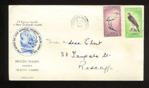1961 Health bird fdc, Christchurch