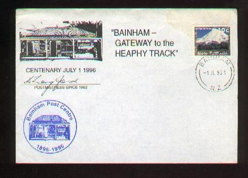 1996 Bainham gateway to the Heapy Track cover, signed postmistress 44 years