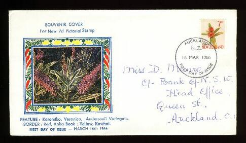 1966 New Zealand 7d fdc, Auckland,  Boric cover