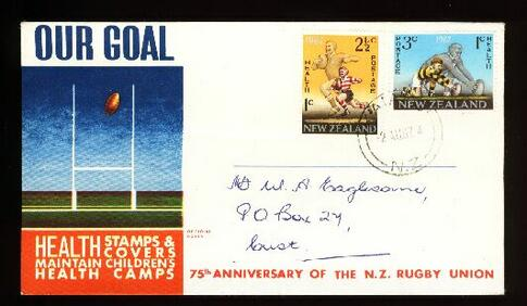1967 New Zeal;and health rugby fdc, Kaiapoi