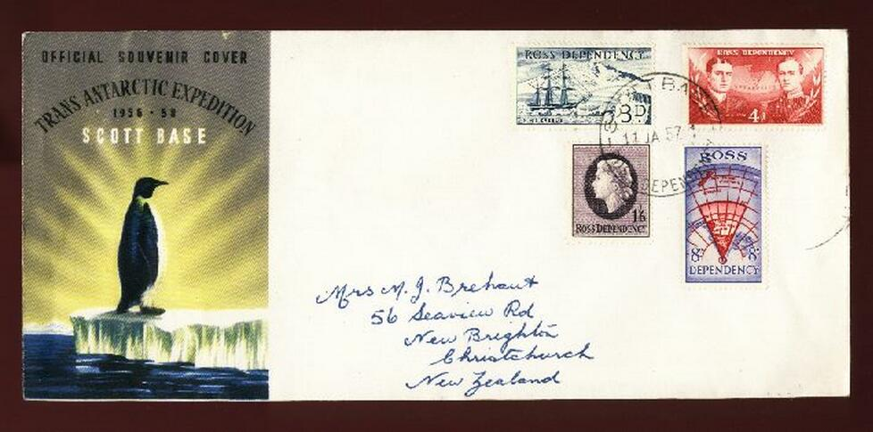 1957 Trans Antarctic Expedition fdc, Fuchs & Hillary