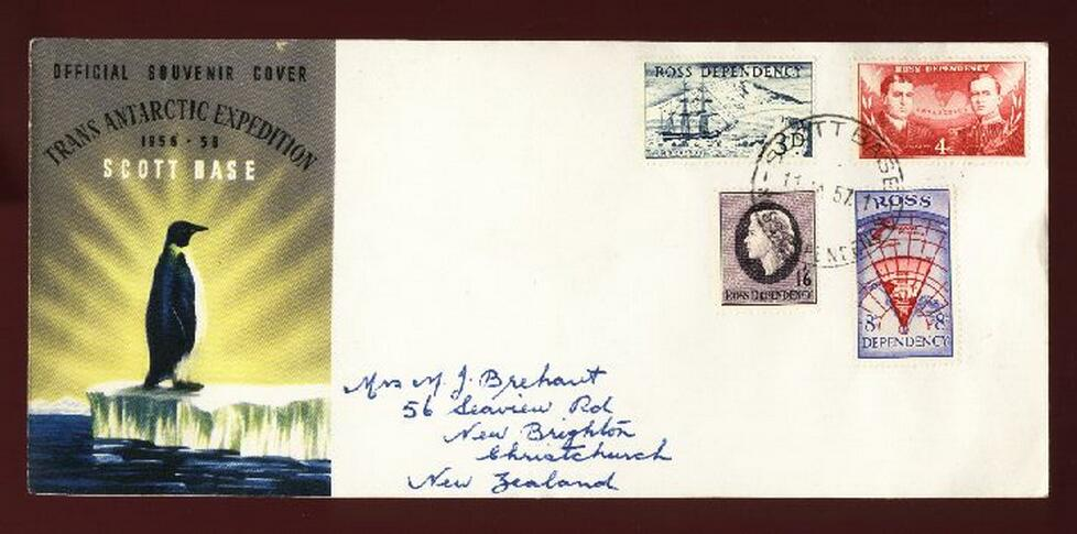 1957 Trans Antarctic Expedition Scoptt Bass fdc, Fuchs & Hillary