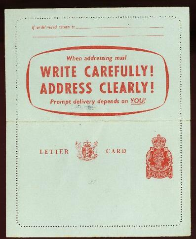 1958 QE II Lettercard Write Carefully