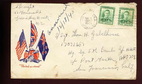 1943 United We stand flag cover