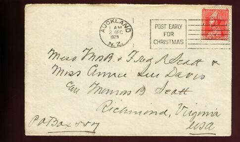 1929 Admiral 1d cover, POST EARLY FOR CHRISTMAS