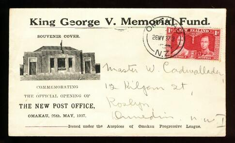 1937 KG V Memorial Fund cover 26 May  Omakau