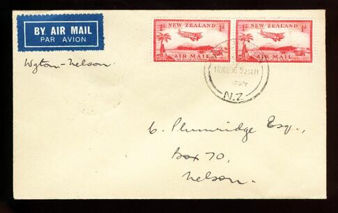 1936 Flight plane cover 16 Mar Wellington to Nelson, NICE wrong date on back