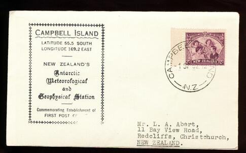 1952 Campbell Island Antarctic Meterofogicaf cover