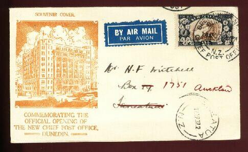 1937 Dunedin Post Office opening cover, backstamped Taneatua
