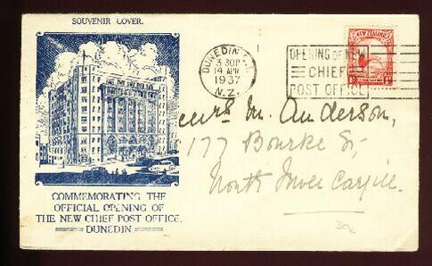 1937 Dunedin Post Office opening Kiwi cover 3.30pm