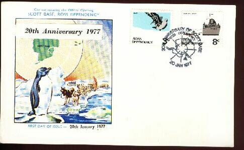 1977 Antarctic 20th anniversary card, signed by postmaster. dog sled