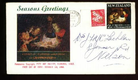 1969 Christmas cover with extra stamp