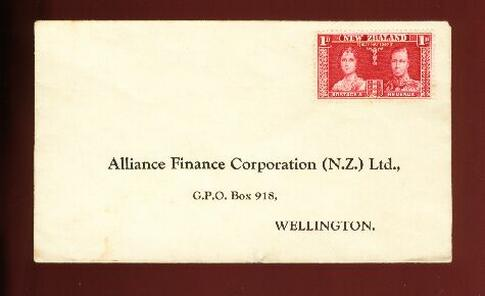 1937 Coronation 1d unused cover Alliance Finance Corporation