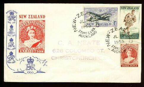 1955 Stamp Exhibition Auckland 18 JUL cover plane Maori QE II