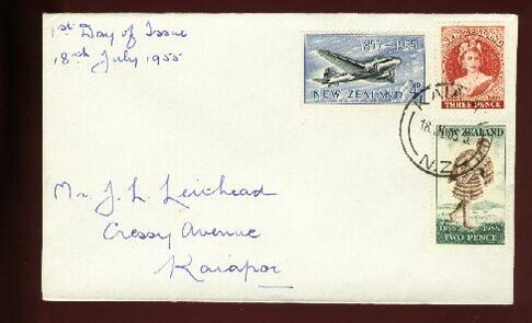 1955 Stamp Exhibition Auckland 18 JUL cover plane Maori QE II Kaiapoi