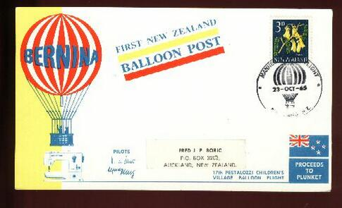 1965 Balloon post 23 OCT, Boric address sticker
