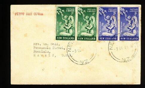 1949 Health pair fdc to USA