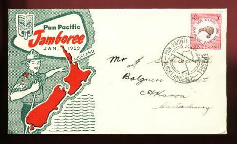 1959 Scout Jamboree fdc, Kiwi scout stamp, scout card also