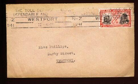 1941 THE TOLL SERVICE IS QUICK CAPTAIN JAMES COOK STAMP