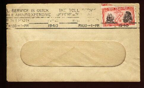1940 THE TOLL SERVICE IS QUICK CAPTAIN JAMES COOK STAMP
