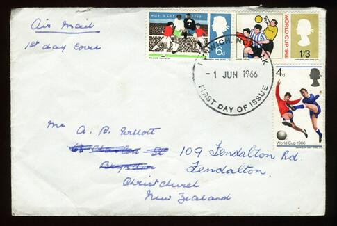 1966 Great Britain World Cup football 1966 fdc New Zealand