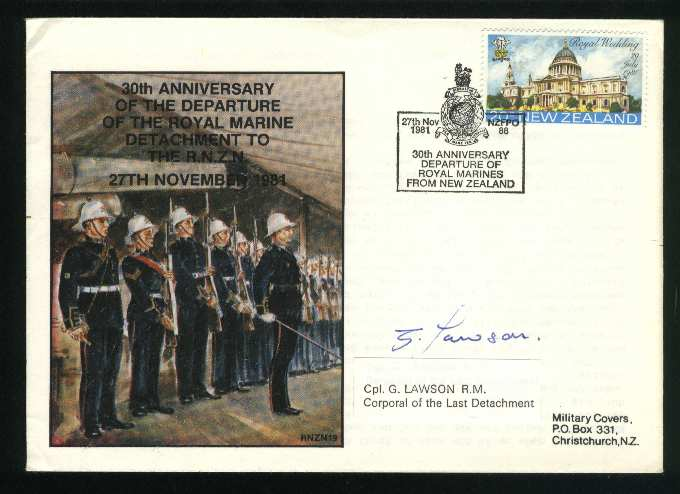 1981 Military cover departure of the royal marine signed