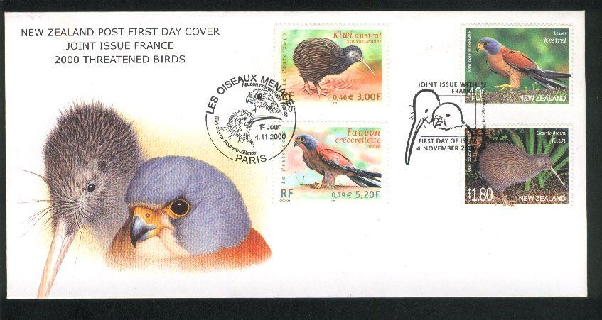 2000 Threatened birds fdc Kiwi kestrel