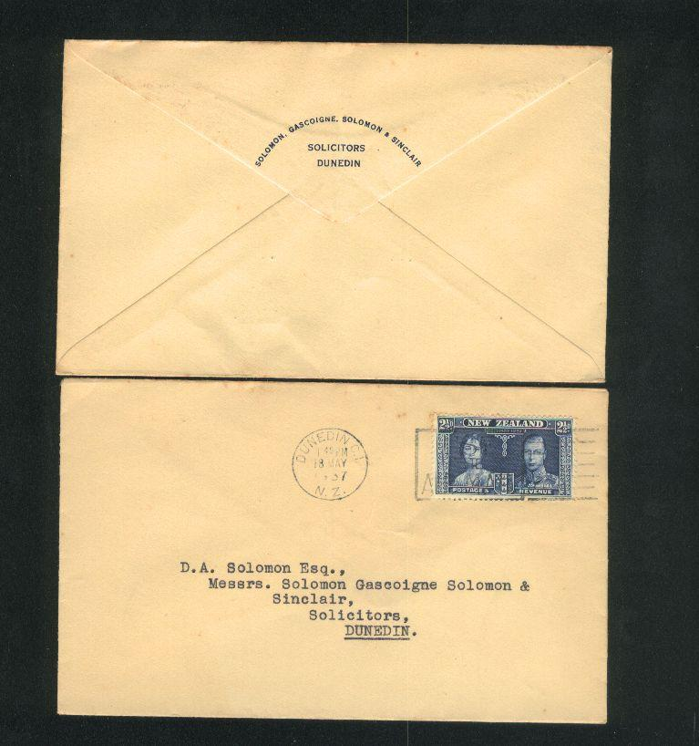 1937 Kg vi cover 1d stamp,  solicitors envelope