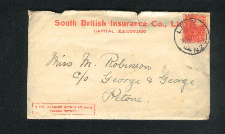 1942 Insurance envelope with letter