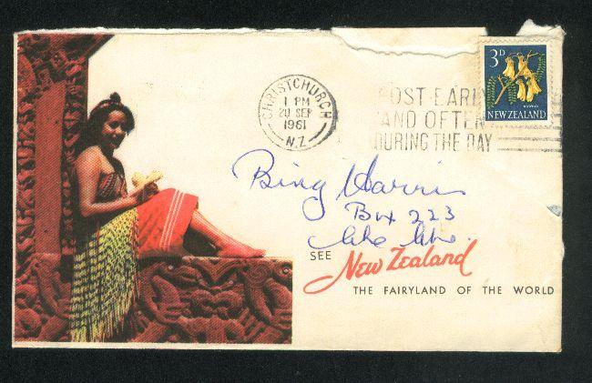 1961 Maori girl envelope with 3d flower