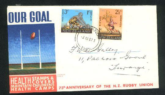 1967 Rugby fdc New Zealand, turangi cancel
