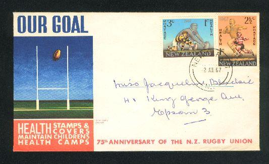 1967 Rugby fdc New Zealand,