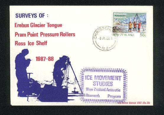 1988 Antarctic ice movement studies cover, 2 signed on back