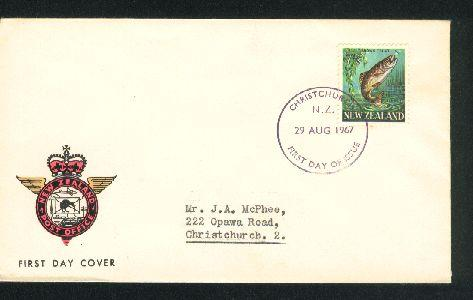 1967 Brown trout fish fdc New Zealand