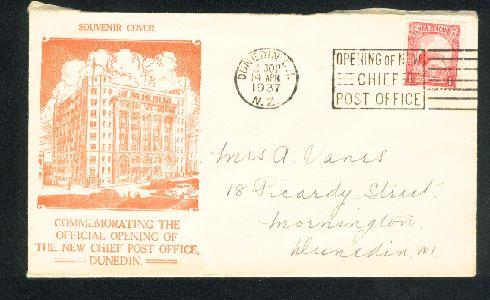 1937 New post office Dunedin cover, Kiwi stamp