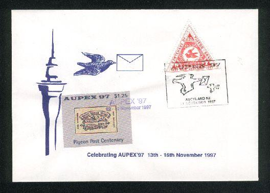 1997 Aupex pigeon gram triangle stamps