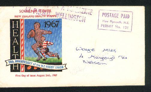 1967 Rugby postage paid cover